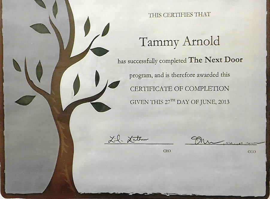 Tammy Arnold's certificate from The Next Door