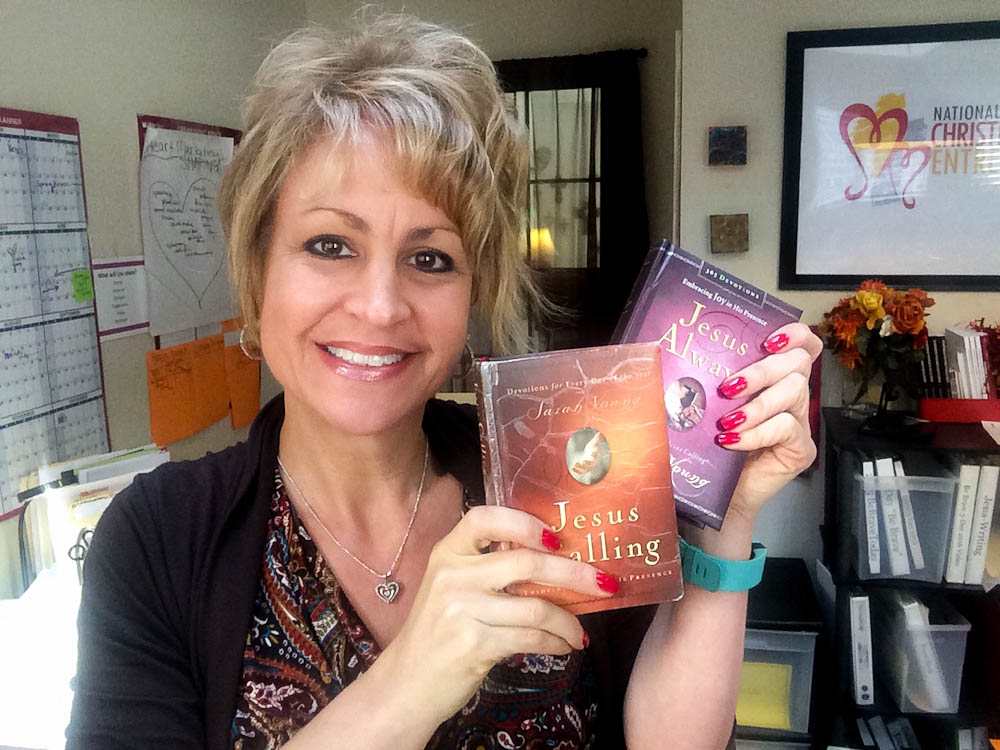 Diane with her copies of Jesus Calling and Jesus Always.