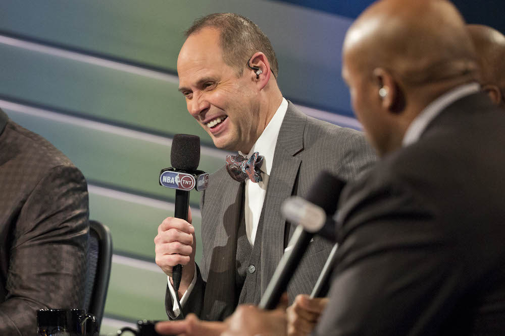 Ernie Johnson, Jr. on the set of TNT's Inside the NBA.