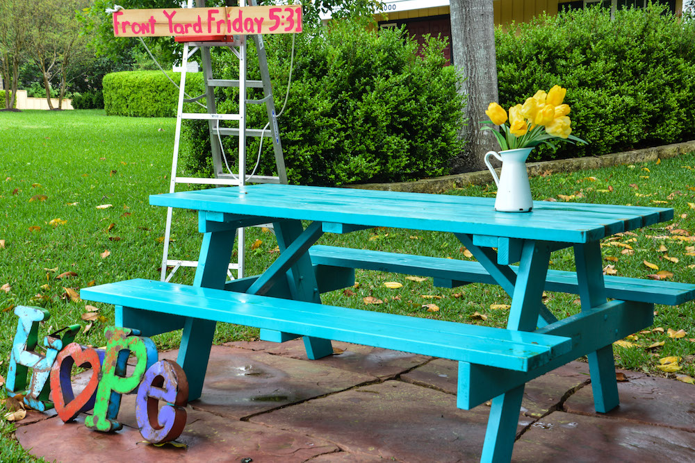 Kristin Schell's turquoise table.