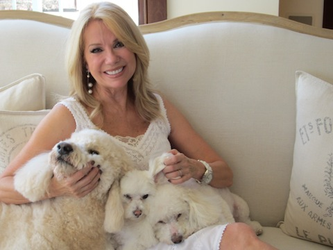 Kathy Lee Gifford at home with her dogs.
