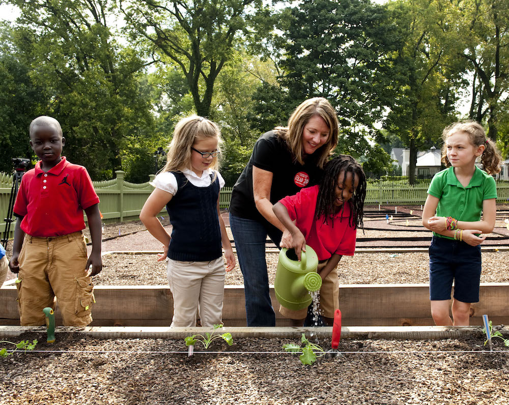 First Lady Crissy Haslam host's students from Crieve Hall Elementary School at the Tennessee Residence for a day of planting in the newly constructed kitchen garden.