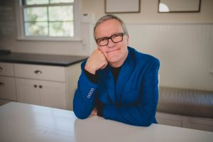 Mark Lowry on the set of Dinner Conversations video podcast
