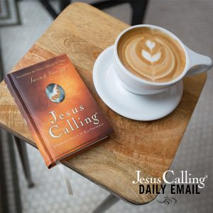 Jesus Calling Daily Email image with coffee cup