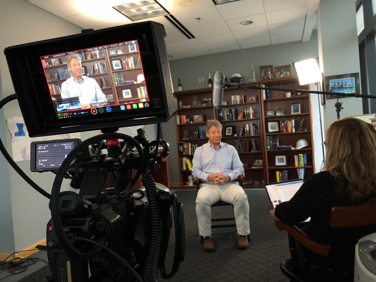 Ray Hendrickson being filmed for the Jesus Calling podcast episode