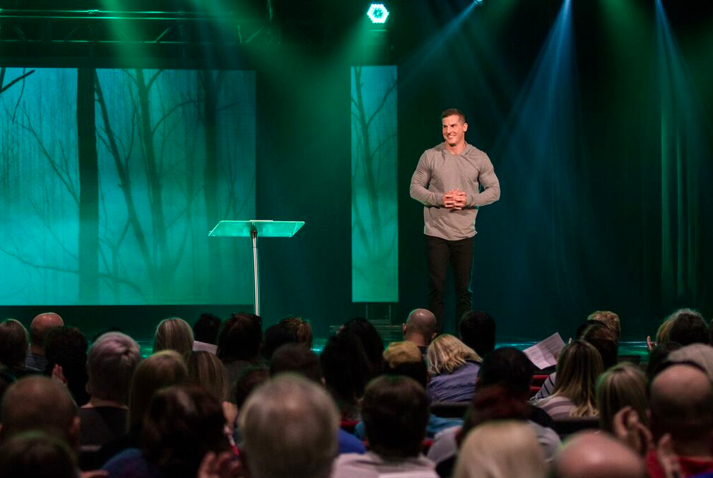 Craig Groeschel speaking before a congregation