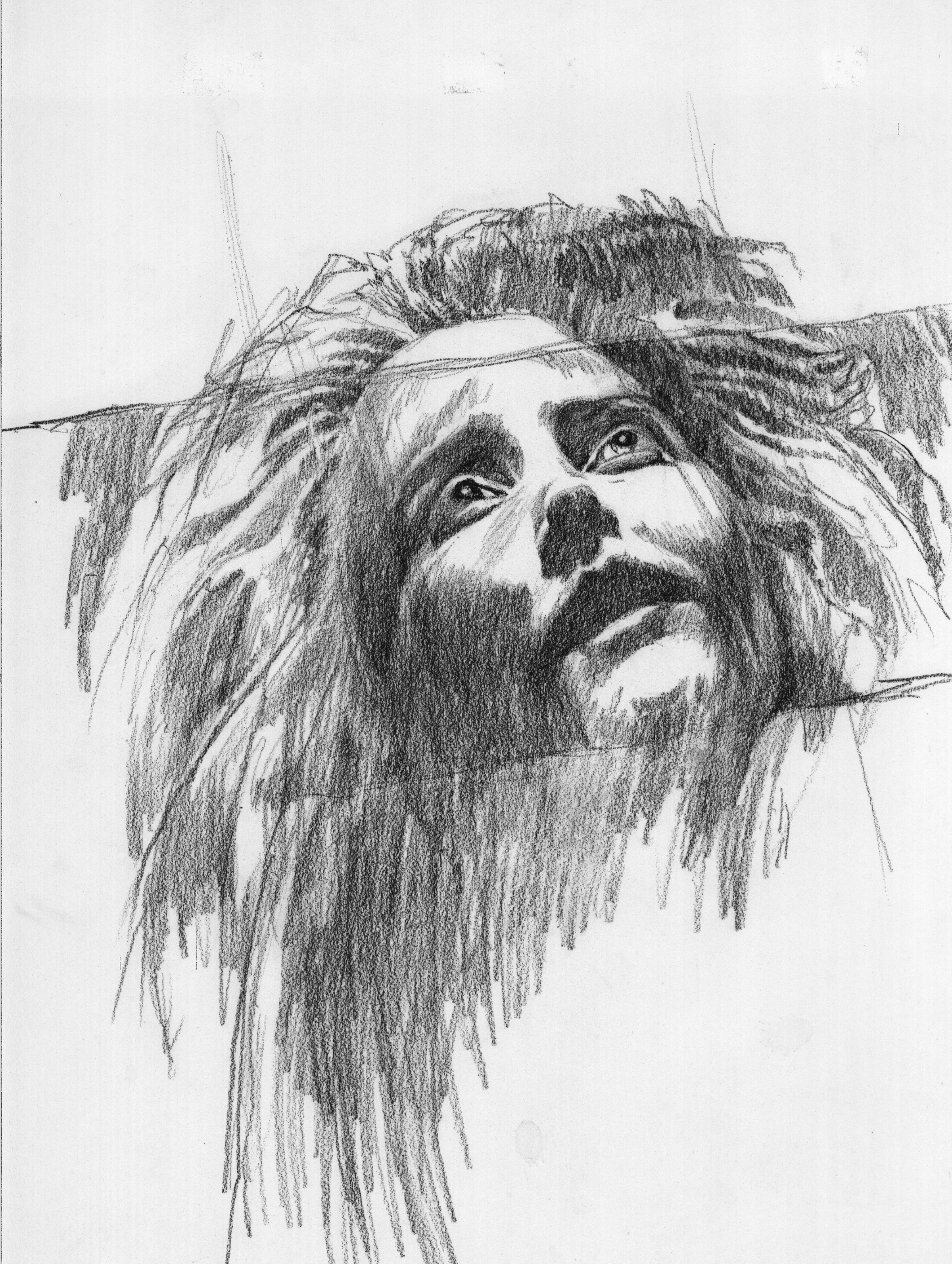 """Face of Anguish"" - pencil drawing by Joni Eareckson Tada"