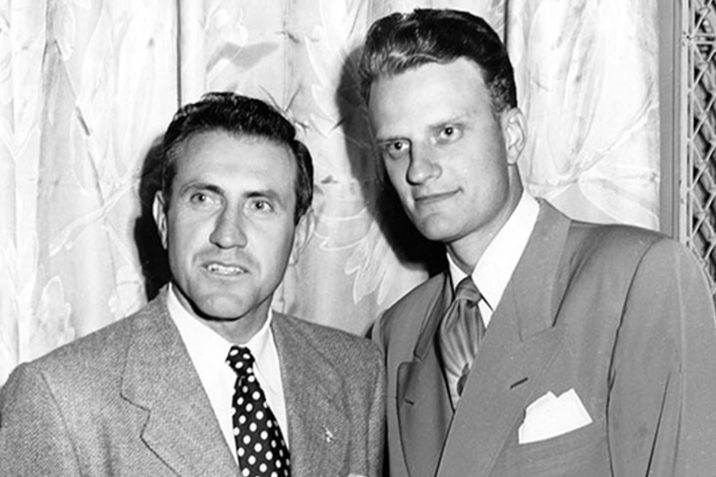Louis Zamperini and Billy Graham at the 1949 Los Angeles Crusade where Zamperini made a life-changing decision for Christ. [courtesy of billygraham.org]