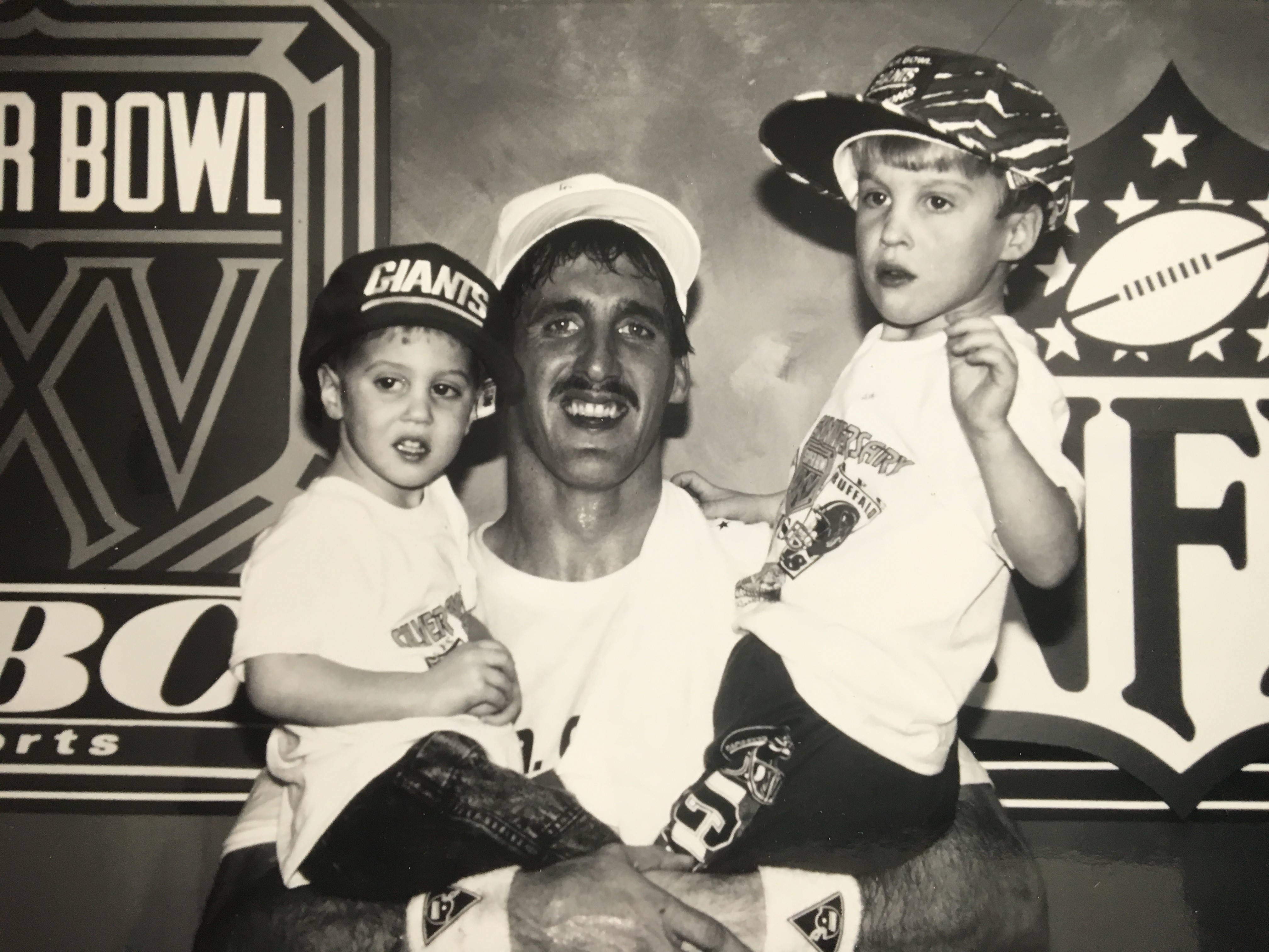 Jeff Hostetler and sons after the Super Bowl win