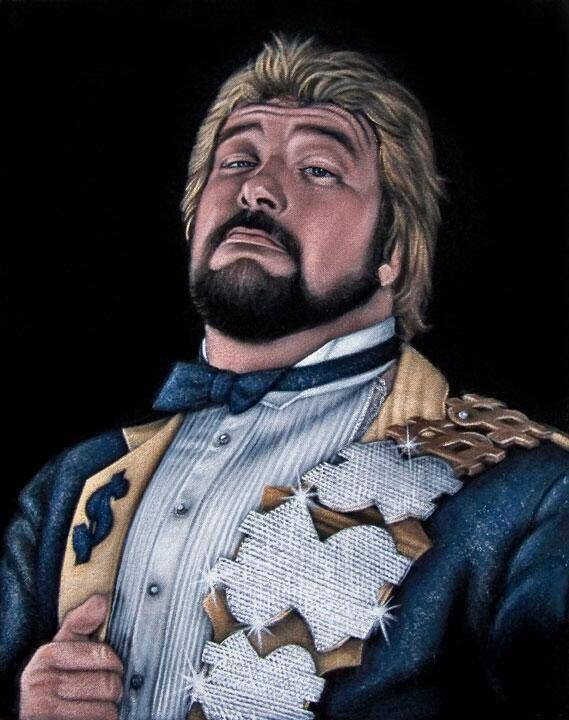 Cartoon sketch of Million Dollar Man Ted DiBiase