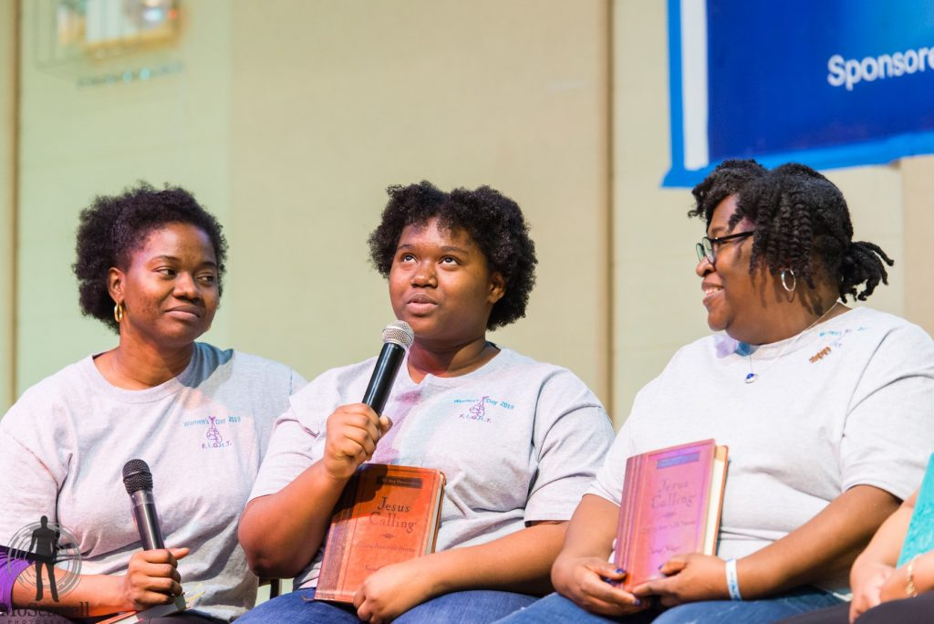 Jayme Tillman-Bridgett with her mother, Johanna Bridgett speaking about the importance Jesus Calling Devotional book has been to their faith walk during Brookland Baptist Church Women's Day 2019