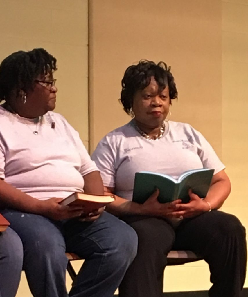 "Angela Hartwell (left) shares during the Women's Day 2019 event at Brookland Baptist Church how she and her husband both read the Jesus Calling devotional every day. ""Jesus Calling has been a blessing to our marriage and to our family."""