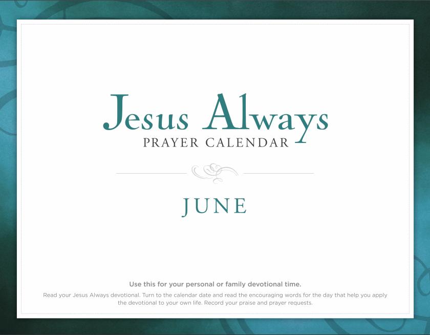 Jesus Always June Prayer Calendar - FREE DOWNLOAD
