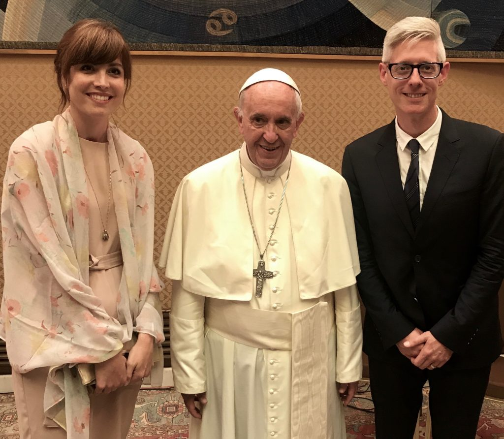 Joining the Jesus Calling podcast, singer/songwriter Matt Maher is pictured here with his beautiful wife and the Pope