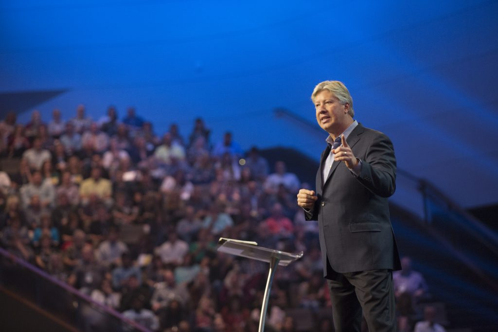 Pastor Robert Morris speaking to an audience (as recently featured on the Jesus Calling podcast)