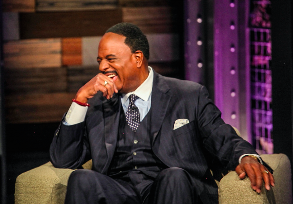 CBS Sportscaster James Brown enjoying a great laugh (as highlighted on the Jesus Calling podcast)