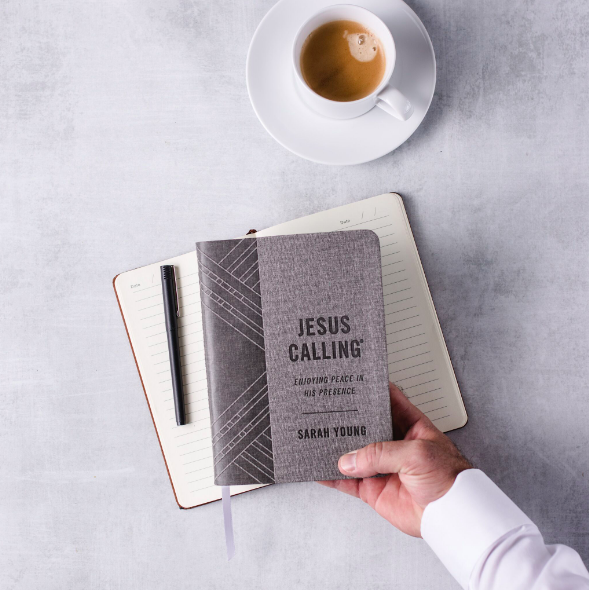 Jesus Calling podcast features the new Jesus Calling Textured Gray Leathersoft with Full Scriptures