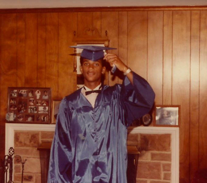 graduation photo of a young Bishop Derek Grier as featured on a recent Jesus Calling podcast episode